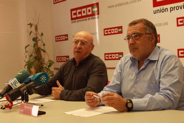Antonio Herrera junto a Rafael González sindicato CCOO málaga salud