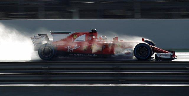 El piloto finlandés Kimi Raikkonen (Ferrari) en los test de Montmeló