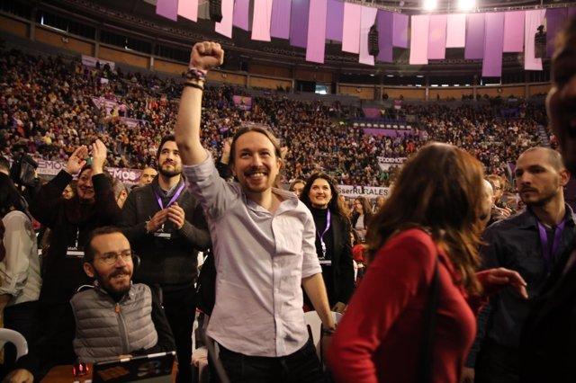 Pablo Iglesias durante el Congreso de Vistalegre
