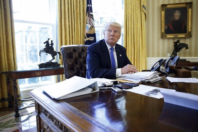 U.S. President Donald Trump is interviewed by Reuters in the Oval Office at the