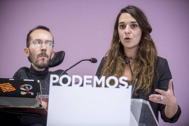 Noelia Vera y Pablo Echenique, portavoces de la Ejecutiva de Podemos