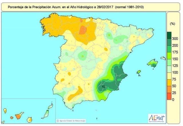 Mapa de lluvias acumuladas en España hasta el 28 de febrero de 2017