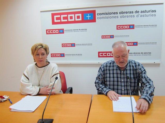 El secretario de CCOO, Antonio Pino, y la secretaría de la mujer Mapi Artidiello