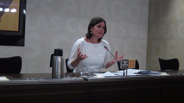 La diputada del PAR, Elena Allué, en rueda de prensa en las Cortes