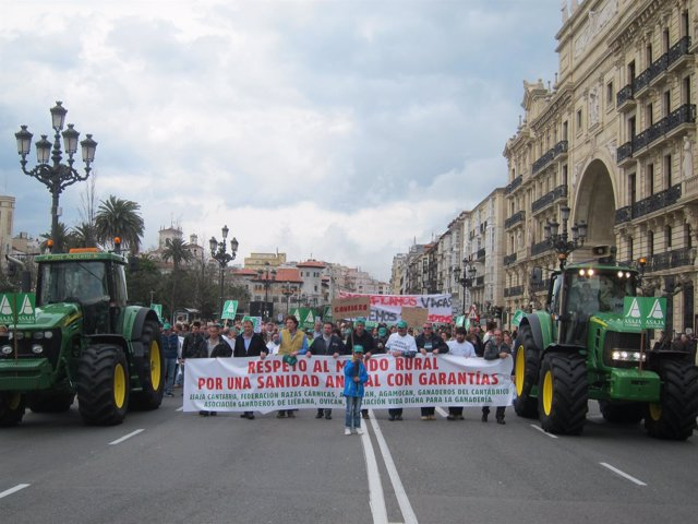Un millar de ganaderos se manifestación por Santander