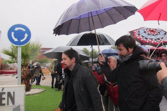 Pablo Iglesias, a la salida de la cárcel de Jaén.