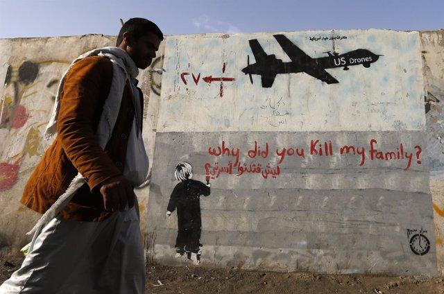 Pintada de protesta contra los ataques de drones de EEUU en Yemen