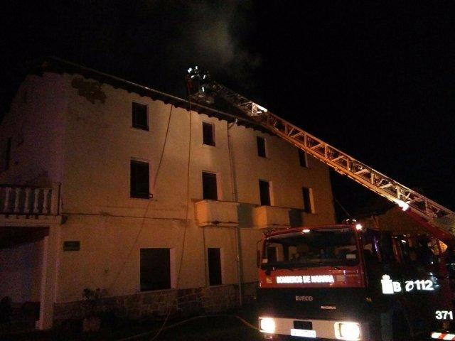 Incendio en una casa de Baríndano