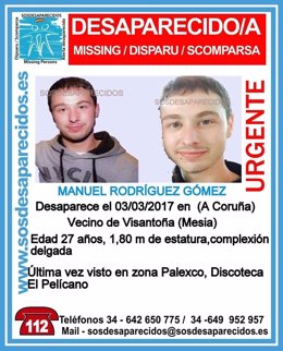 Joven desaparecido en La Coruña