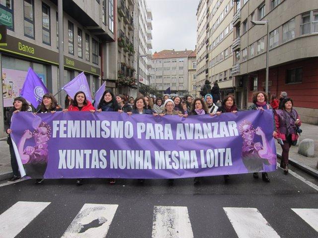 Manifestación feminista en Santiago
