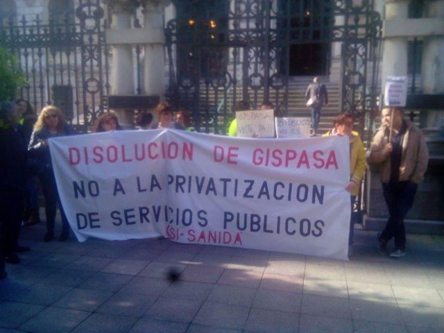 Manifestación Gispasa ante la Junta General