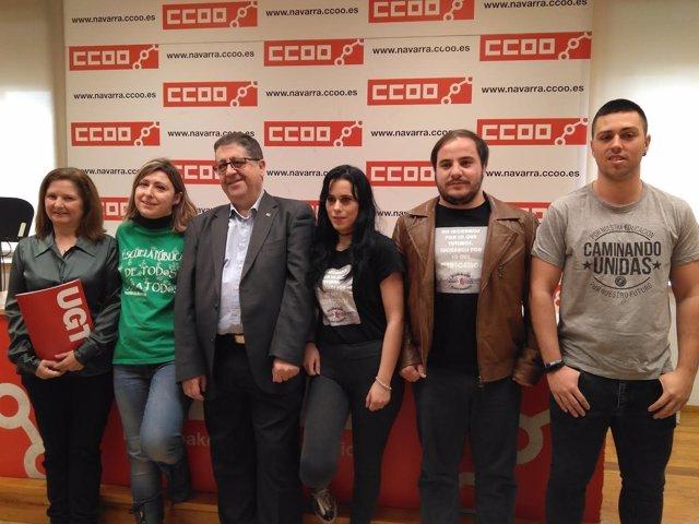 Representantes de CCOO, UGT, Herrikoa y Eraldatu, convocantes de la huelga