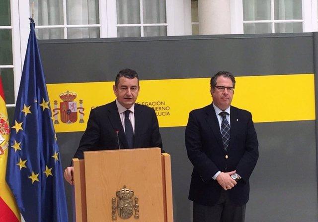 Antonio Sanz junto a Gregorio Serrano en rueda de prensa tras una reunión