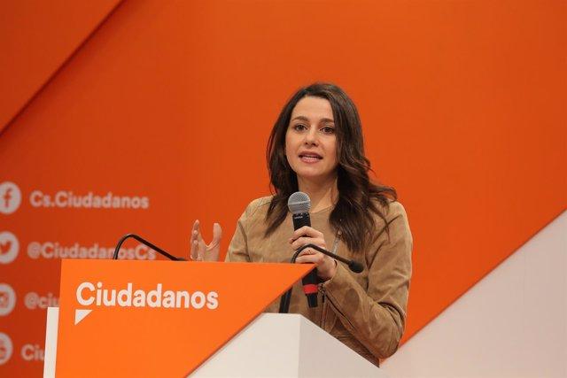 Rueda de prensa de Inés Arrimadas, portavoz nacional de Ciudadanos