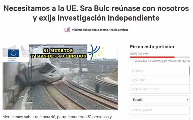 Campaña de las víctimas del Alvia dirigida a la comisaria de Transporte