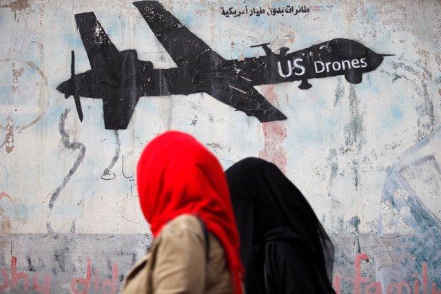 Graffiti contra los drones de EEUU en Yemen