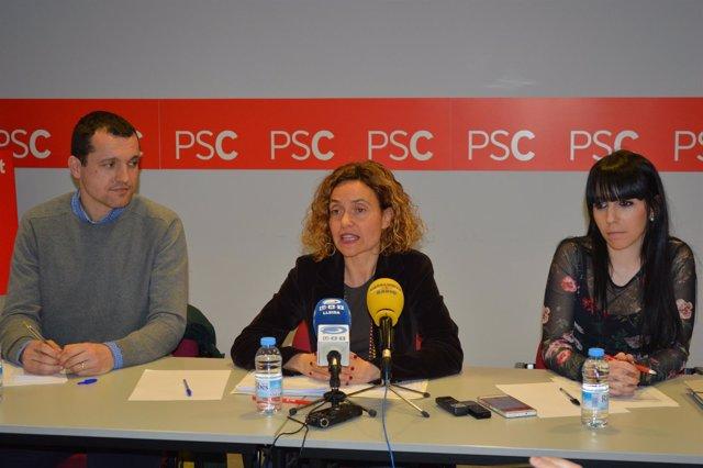 Óscar Ordeig, Mertixel Batet y Estibalitz Torres (PSC)