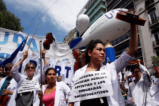 Protesta de profesores en Buenos Aires
