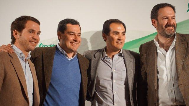 Juanma Moreno, José Antonio Nieto, Fernando Priego y Adolfo Molina