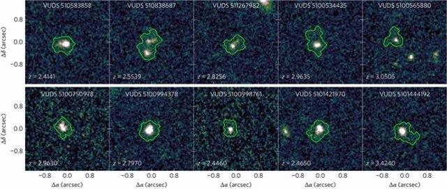Las diez galaxias análogas a las galaxias primigenias halladas en el estudio