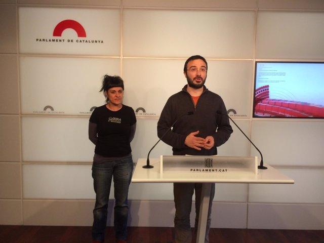 Los diputados de la CUP Albert Botran y Anna Gabriel