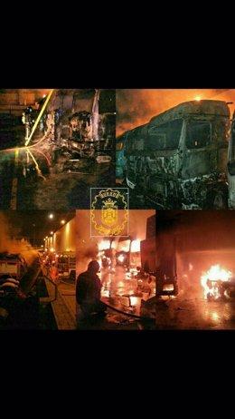Burgos. Imagen del incendio en Gamonal