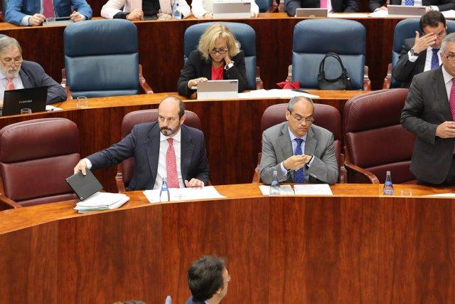 Los consejeros Pedro Rollán y Rafael Van Grieken en la Asamblea de Madrid