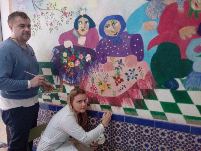 Restauración del mural de Ocaña en Cantillana