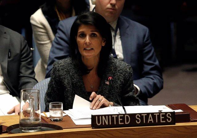 U.S. Ambassador to the United Nations Nikki Haley speaks in favor of a U.N. Secu