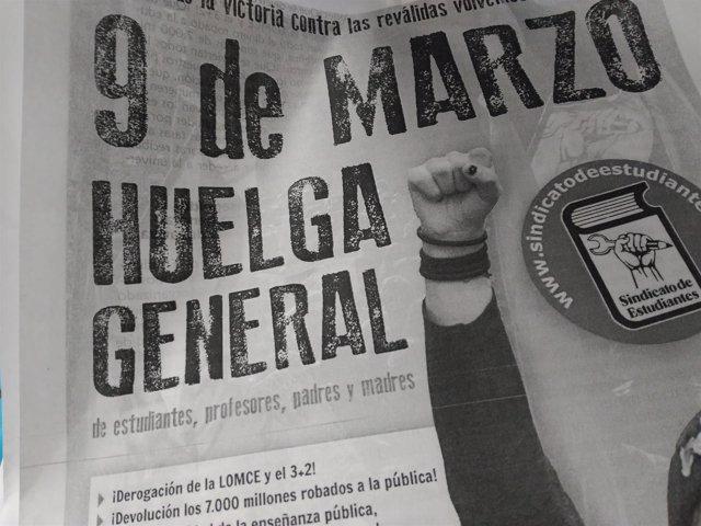 Cartel huelga general de educación 9 de marzo