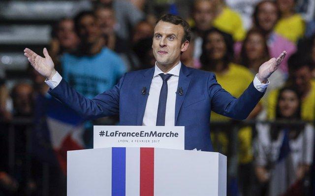 El candidato presidencial Emmanuel Macron