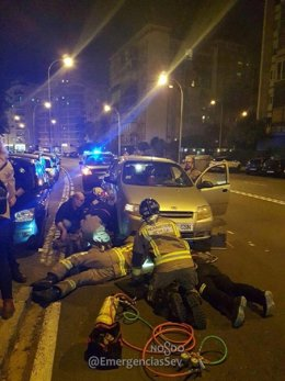 Rescate de los bomberos en Los Remedios.