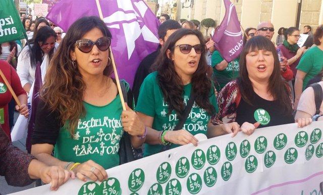 Teresa Rodríguez en manifestación por Educación