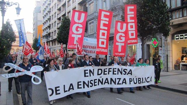 Cabecera de la manifestación en defensa de la enseñanza pública
