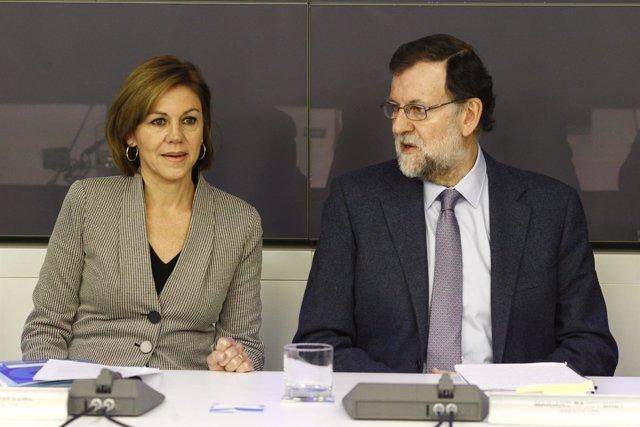 Cospedal y Rajoy en la reunión del Comité Ejecutivo Nacional del PP