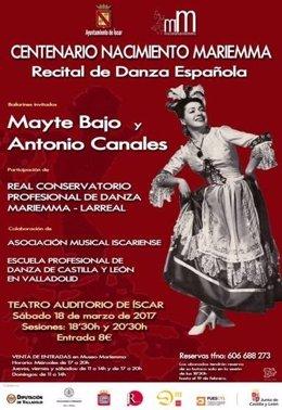 Valladolid. Cartel del recital de Danza en honor a Mariemma