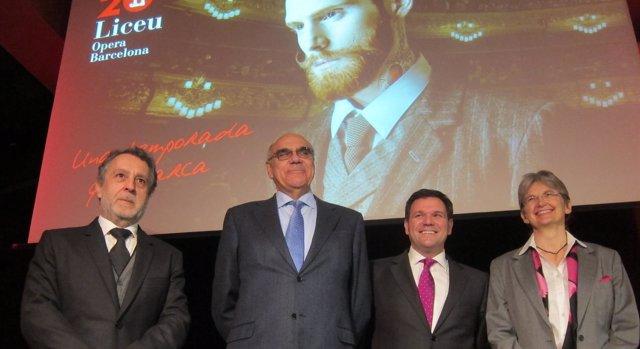 J.Pons, S.Alemany, R.Guasch y C.Scheppelmann al presentar temporada del Liceu
