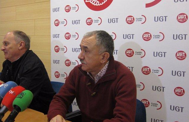 Pepe Álvarez antes de la asamblea en Valladolid