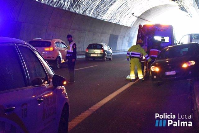 Accidente en el interior del túnel de Génova