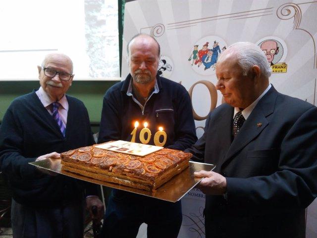 Josep Maria Blanco, Antoni Guiral y Lluís Giralt en el centenario TBO