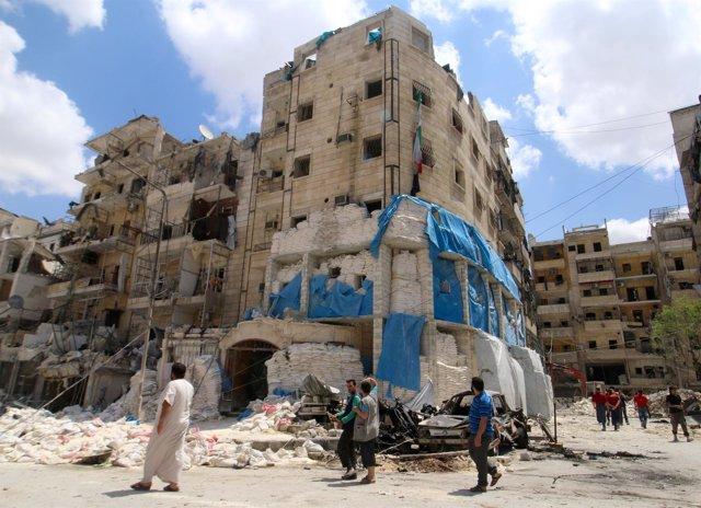 Restos del hospital apoyado por MSF que ha sido atacado en Alepo
