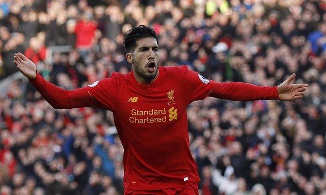 Emre Can celebra un gol con el Liverpool