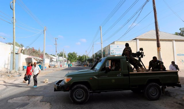 Militares somalíes en Mogadiscio