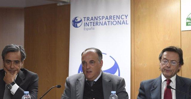 Javier Tebas en un acto de Transparencia Internacional España