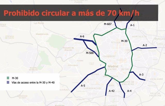 Limitaciones de velocidad en la M-30