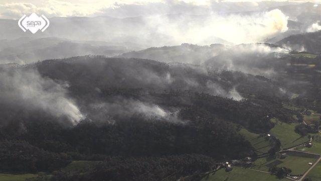 Incendio forestal en Asturias, Boal, El Franco
