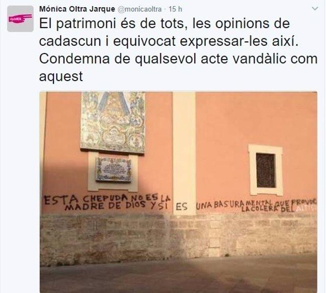 Mensaje de Mónica Oltra en Twitter condenando la pintada en la Basílica