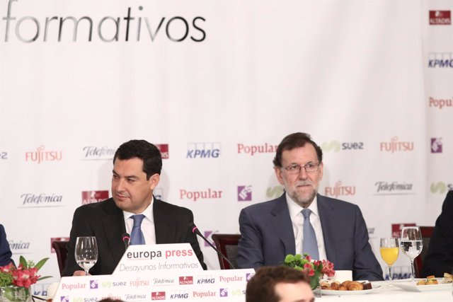 Juan Manuel Moreno y Mariano Rajoy en los Desayunos de Europa Press