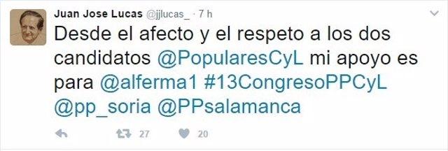 Tuit de Juan José Lucas
