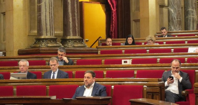 El vicepresidente Oriol Junqueras en el pleno del Parlament
